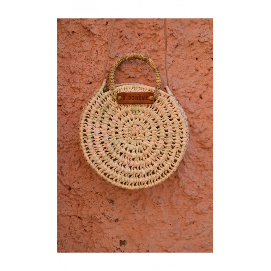 Petit panier rond marocain palme blanche anse bandoulière en cuir