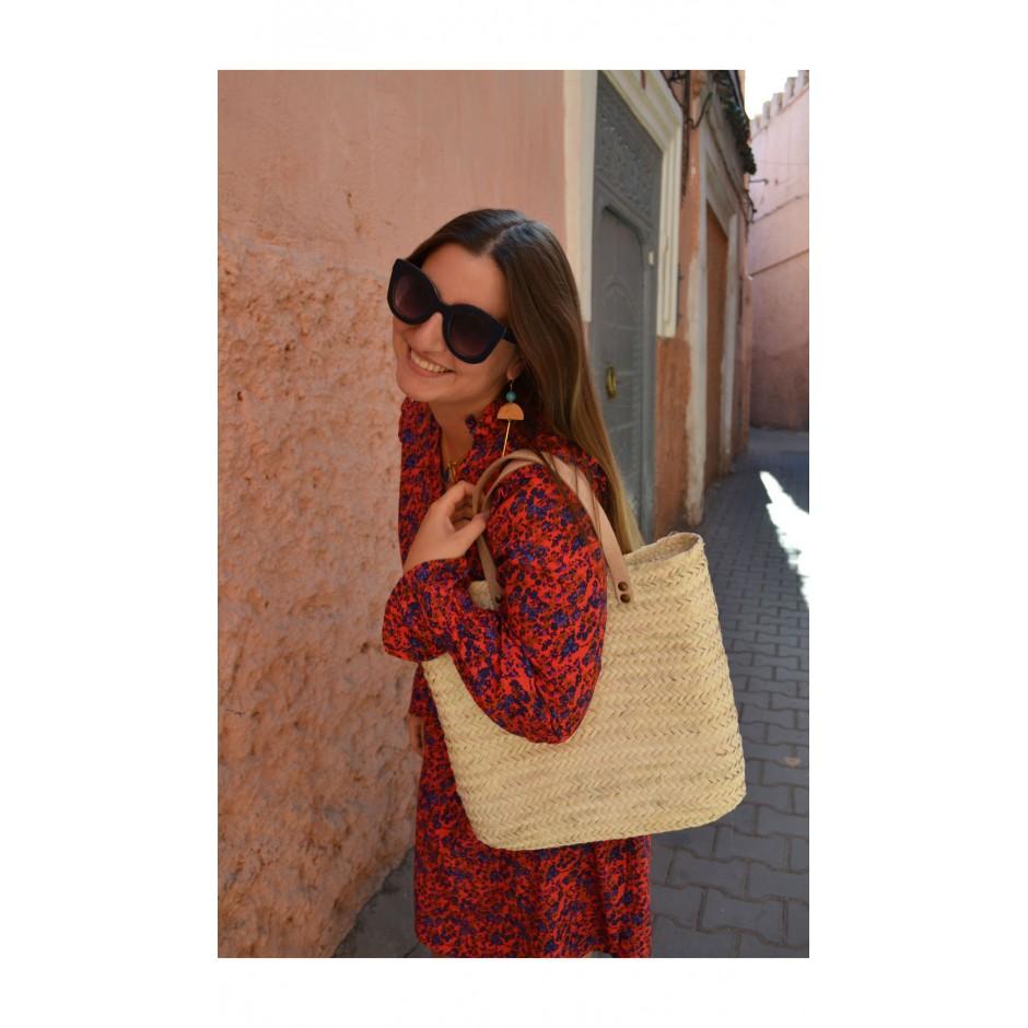 Panier rectangle marocain palme blanche anses en cuir