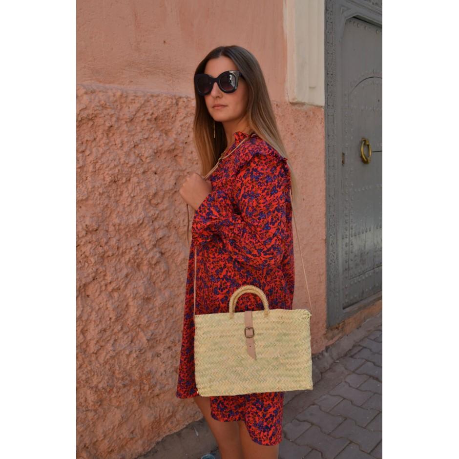 Petit panier rectangle marocain palme blanche anse fine bandoulière en cuir