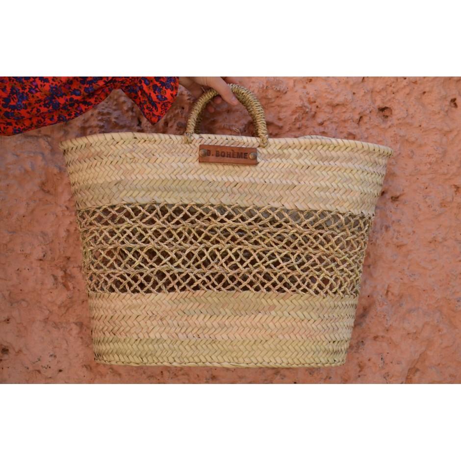 Panier cabas couffin marocain avec tissage doum