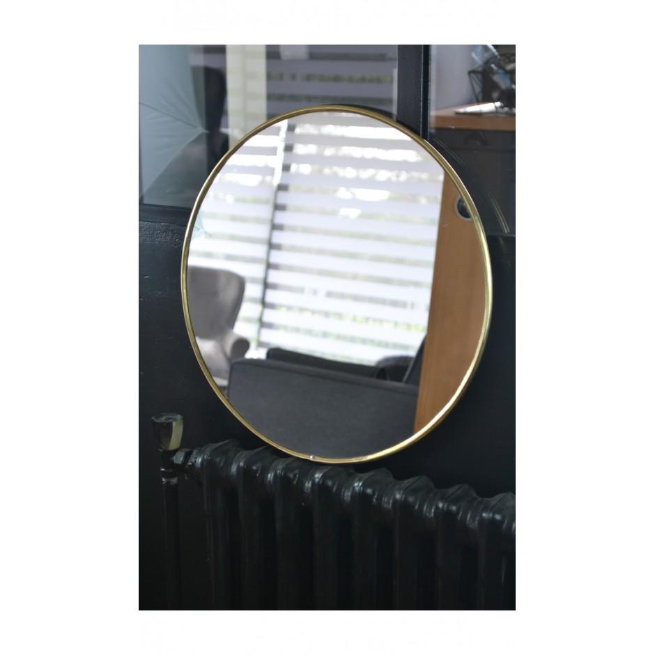 Miroir laiton rond bord fin