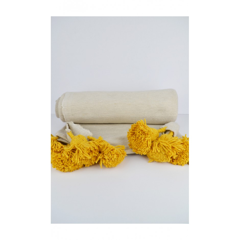 Plaid beige pompon jaune
