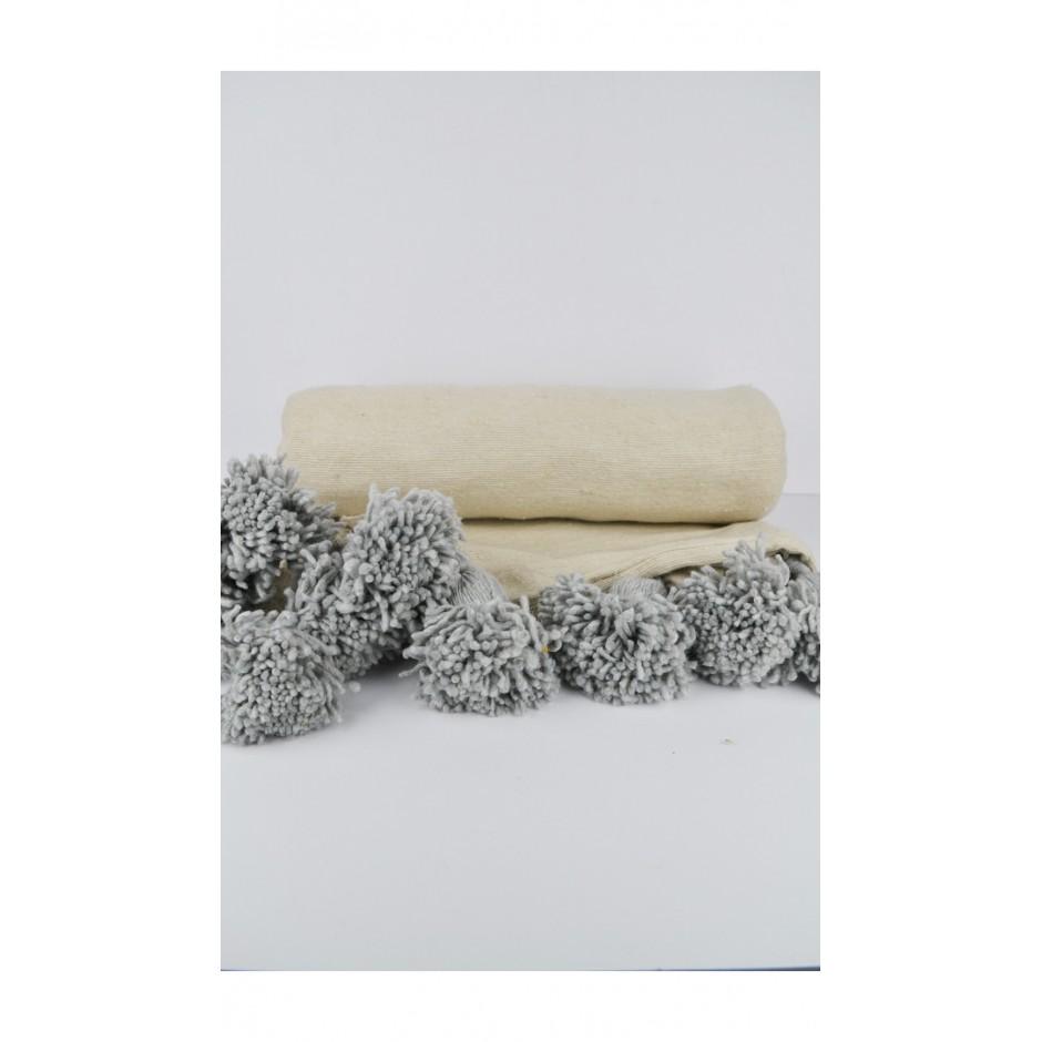 Plaid marocain beige pompon gris