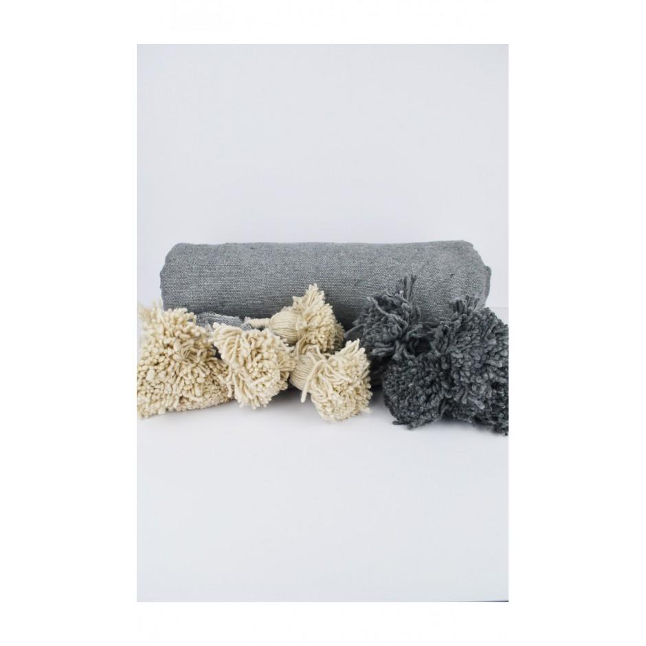 Plaid gris pompon crème/gris