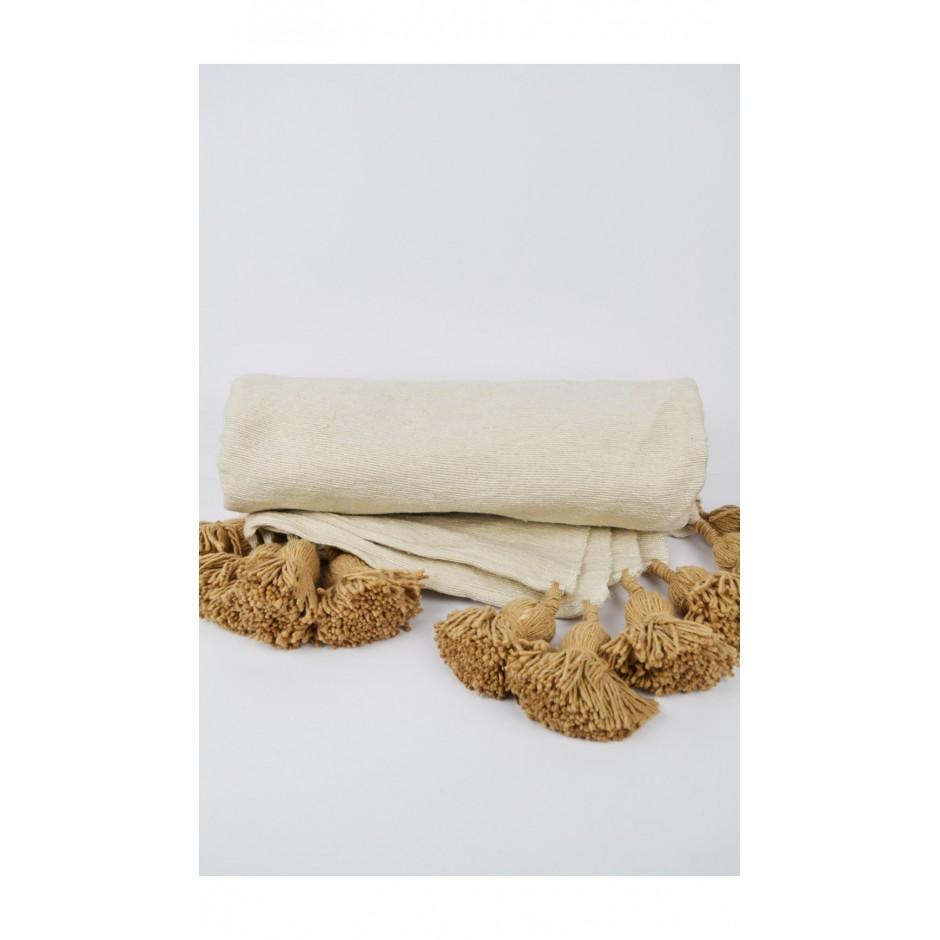 Plaid beige pompon marron