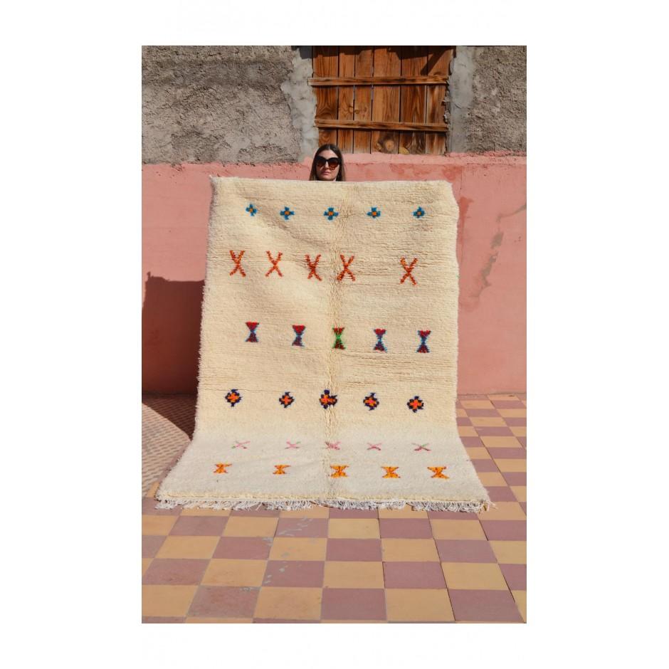 Tapis écru motifs multicolores N°68