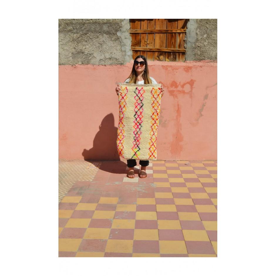 Tapis écru motifs multicolores N°84