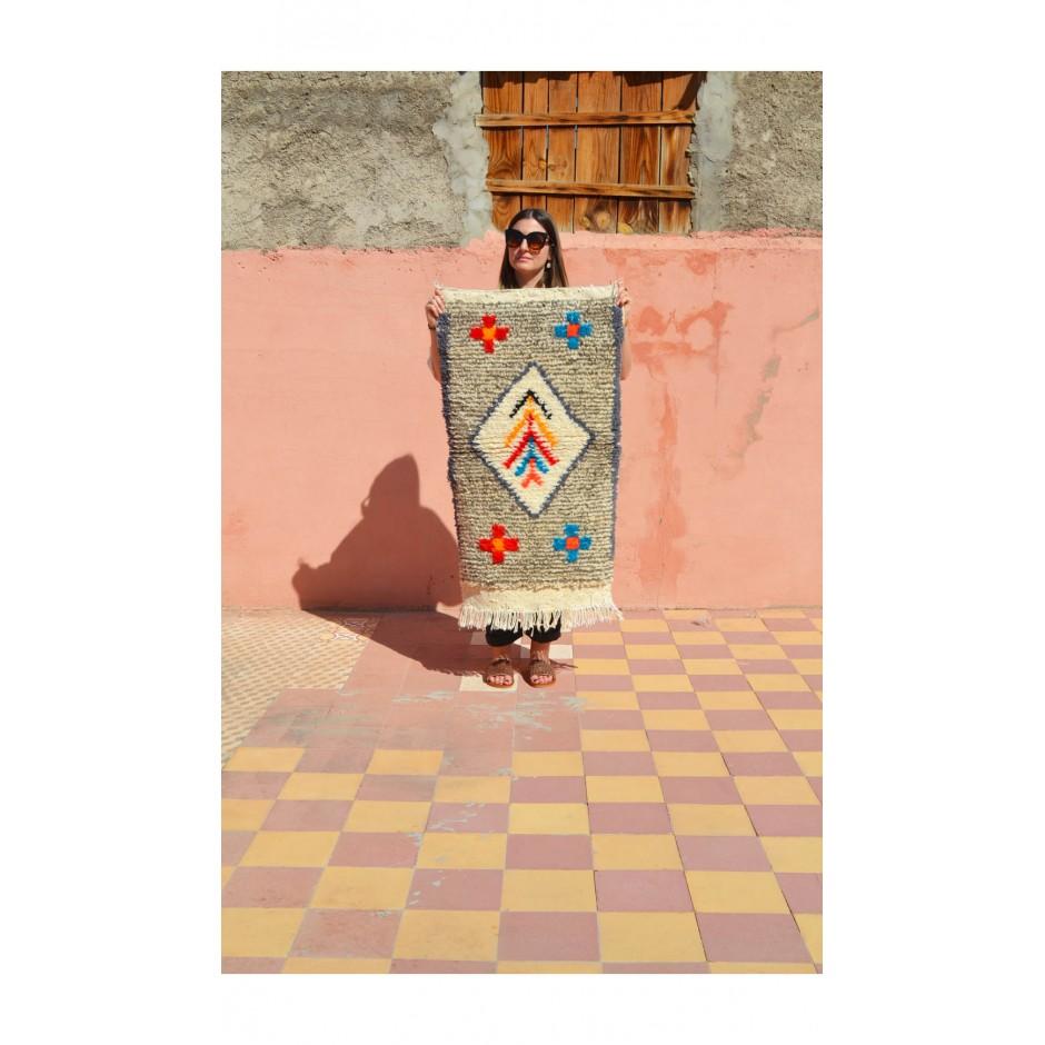 Tapis moucheté gris motifs multicolores N°85