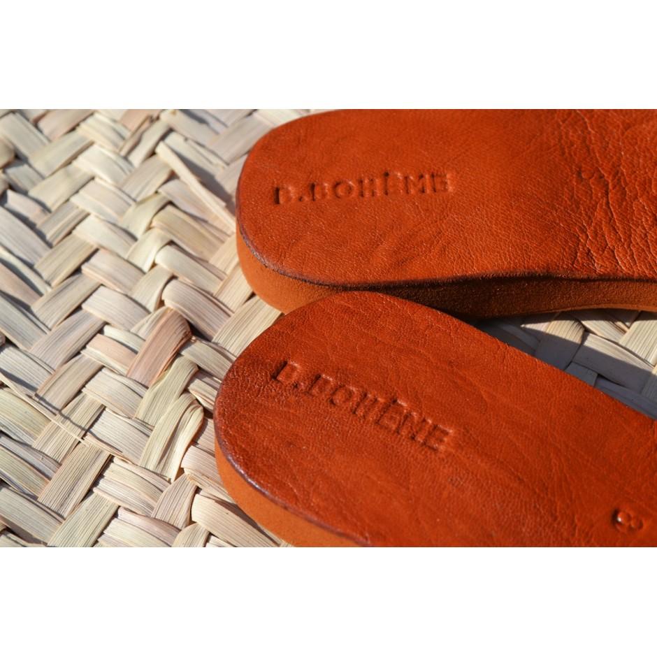 Sandale en cuir tressé noir