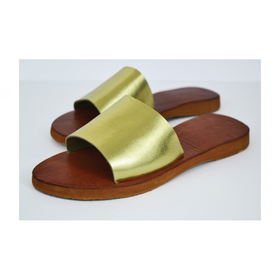 Sandales en cuir dorés