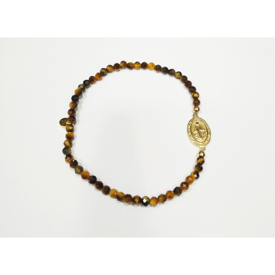 Bracelet acier élastique madone et pierre