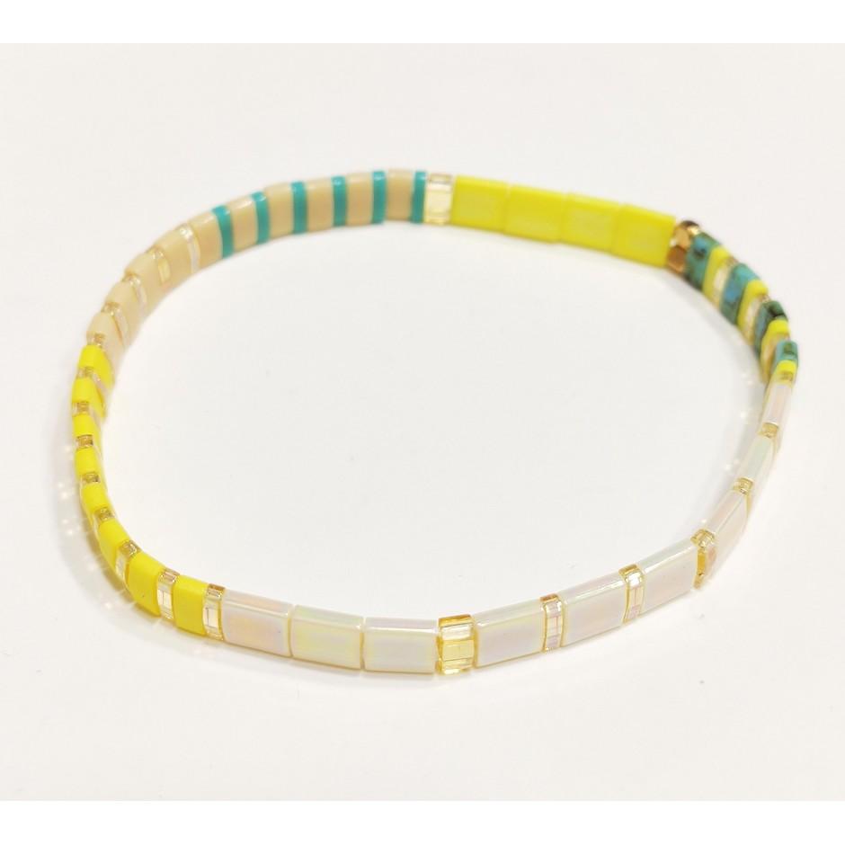Bracelet acier élastique perles japonaises
