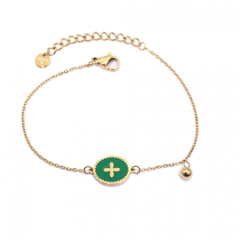 Bracelet acier chaine médaille émaillée