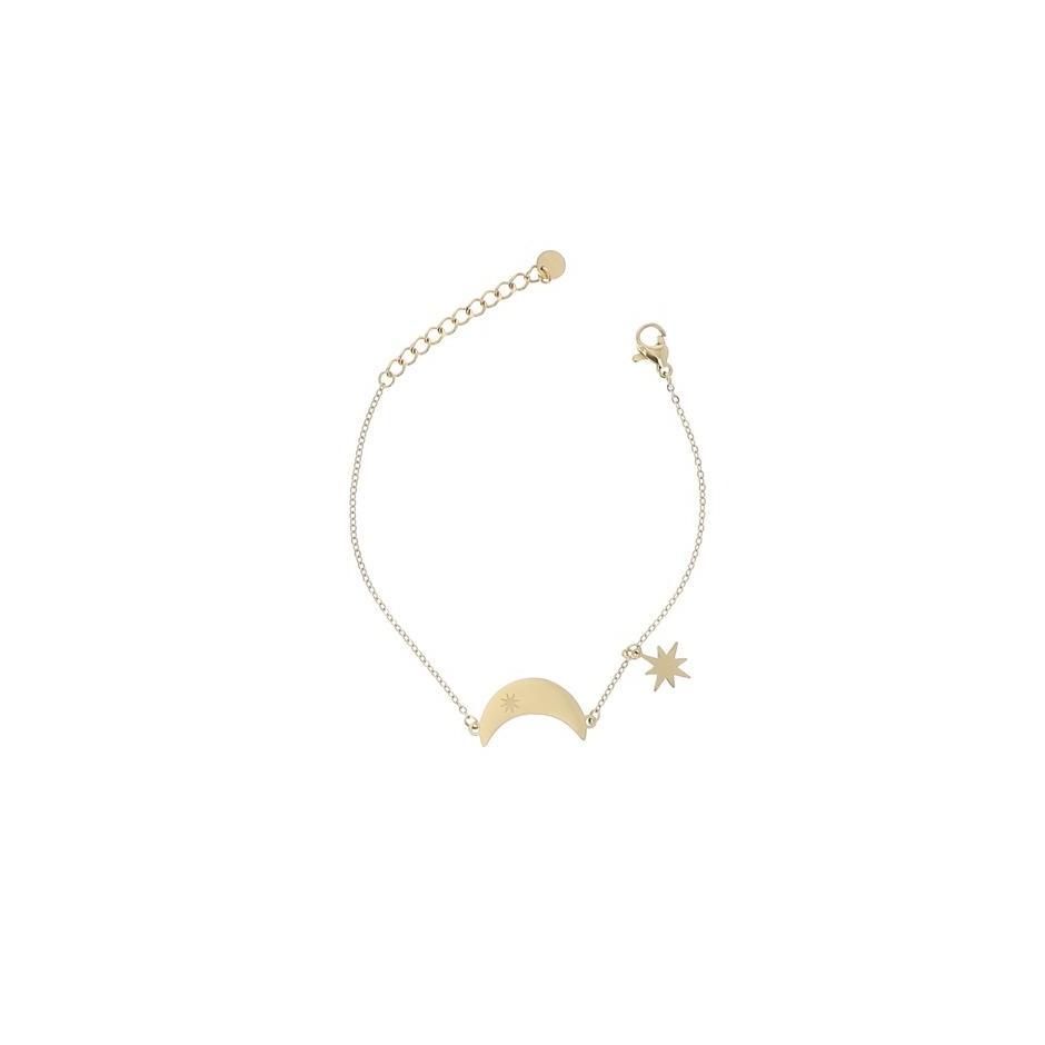 Bracelet acier lune et étoile