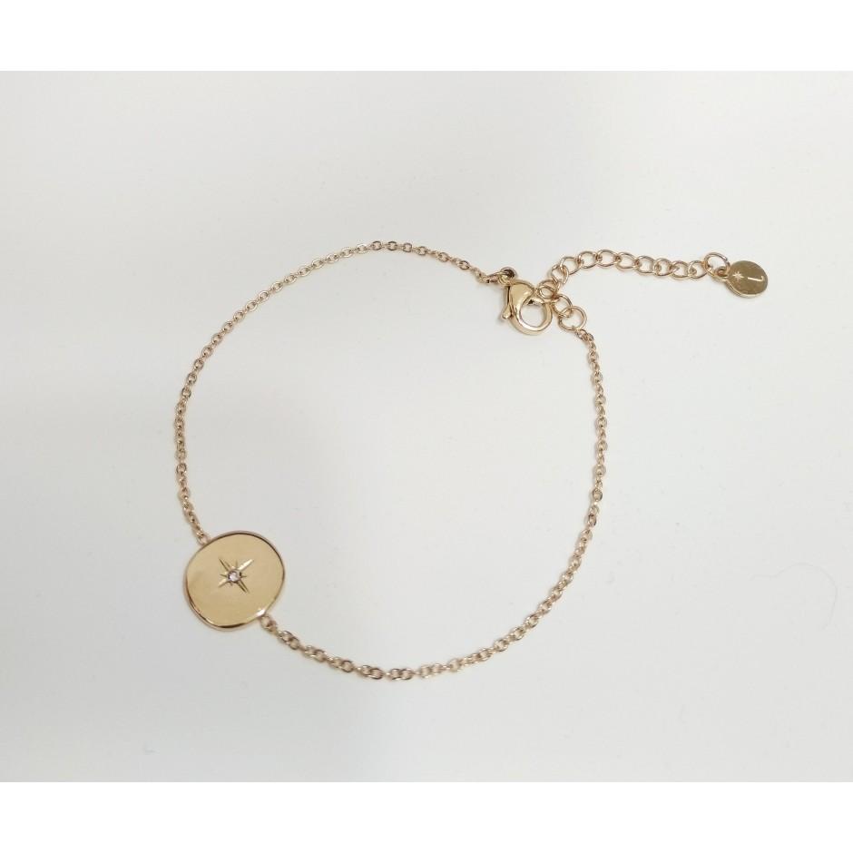 Bracelet acier médaille étoile