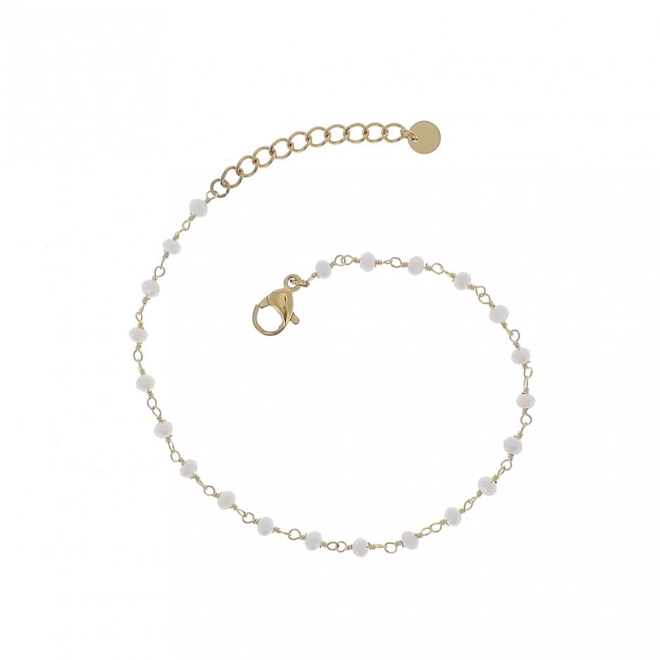 Bracelet acier perle blanche