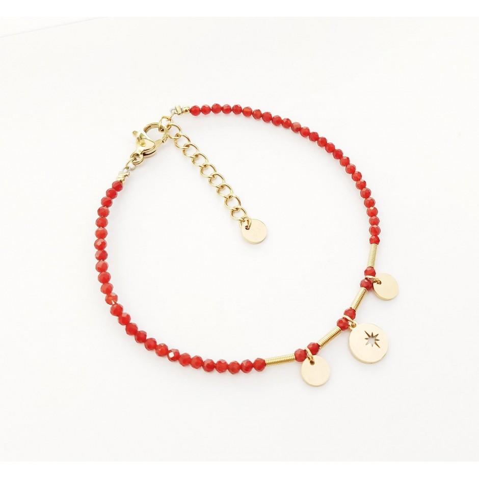 Bracelet acier pierre médaille et étoile