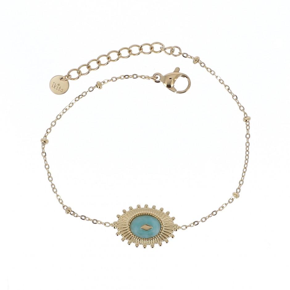 Bracelet acier chaine boule médaille ancienne et pierre