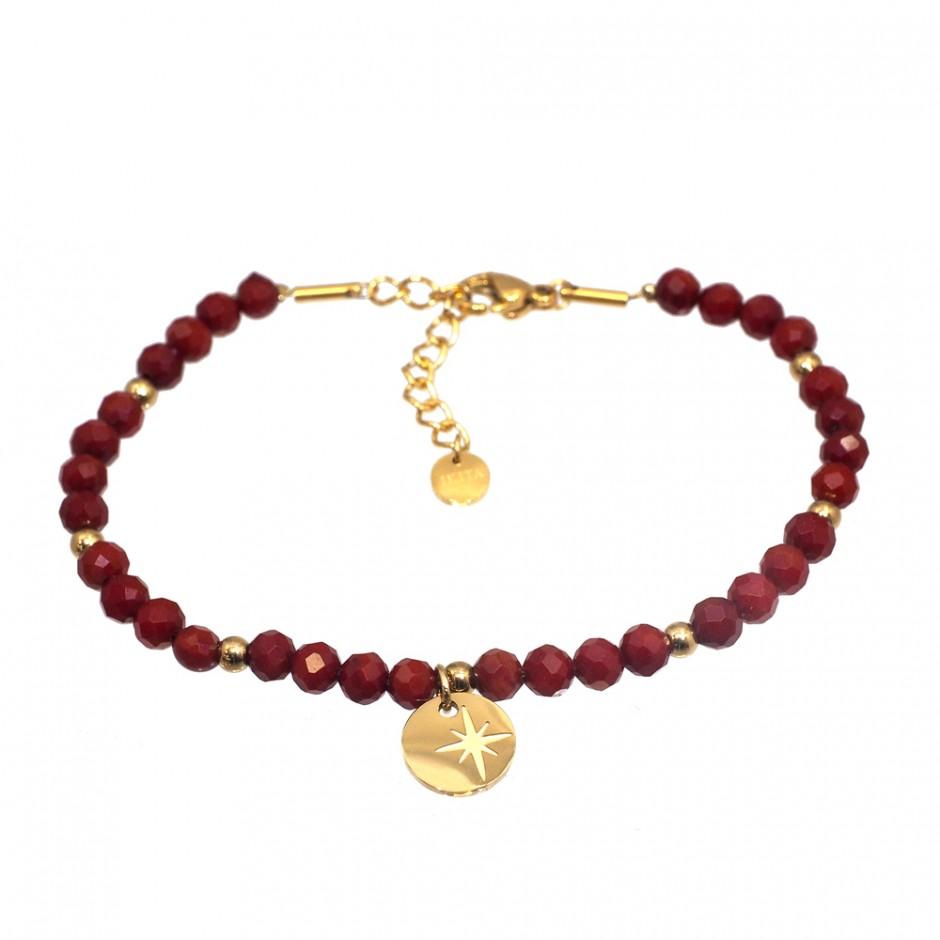 Bracelet acier pierre et étoile gravée