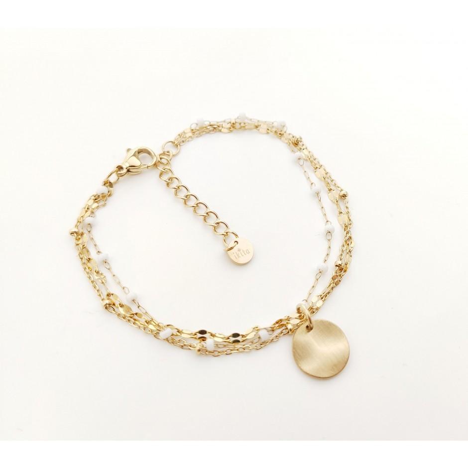Bracelet acier triple range perle et médaille