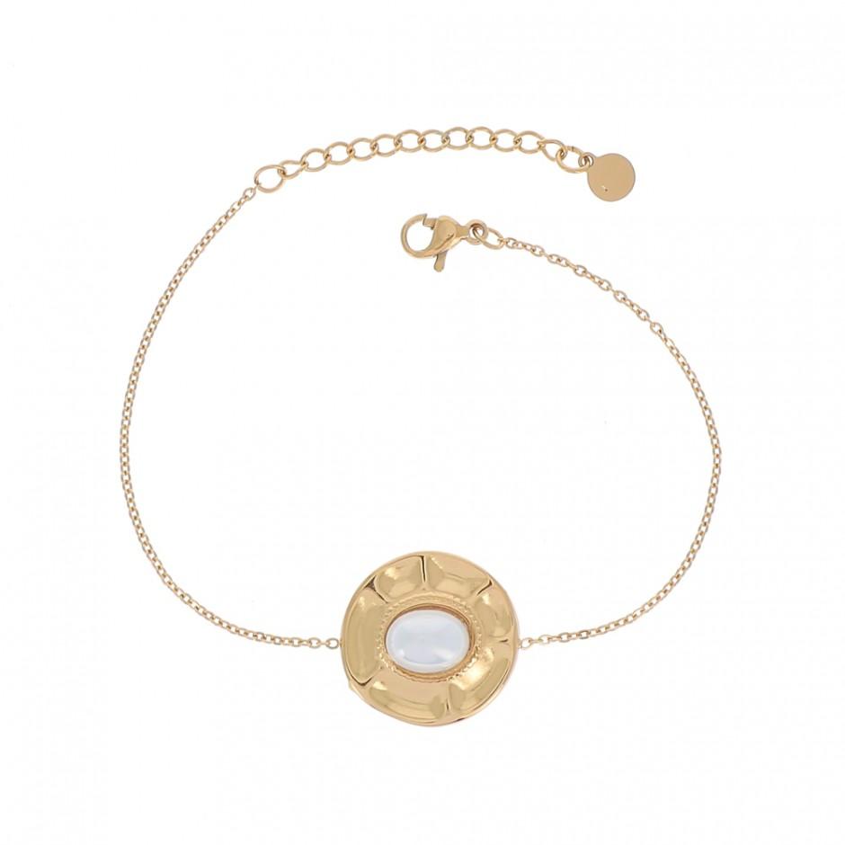 Bracelet acier rond martelé pierre