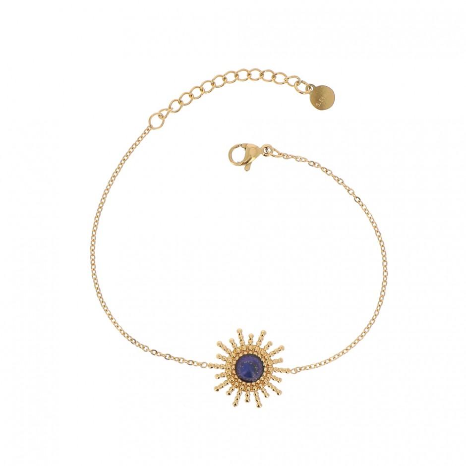 Bracelet acier soleil et pierre