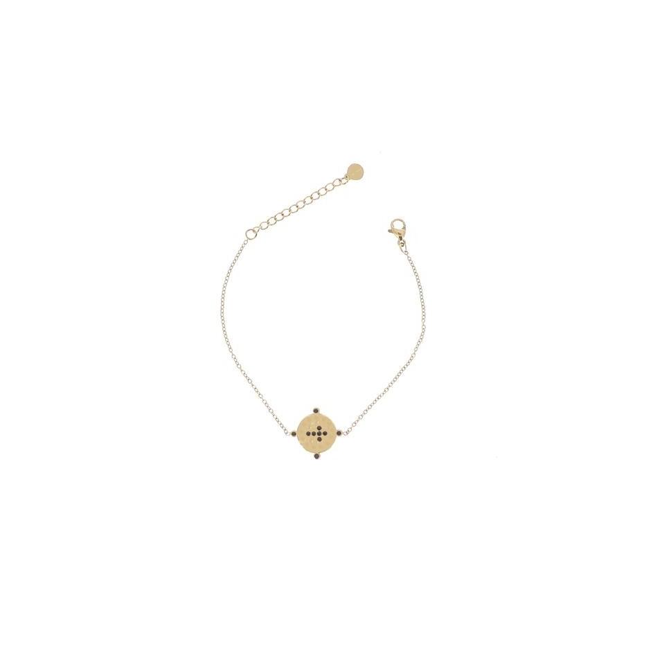 Bracelet acier médaille et croix