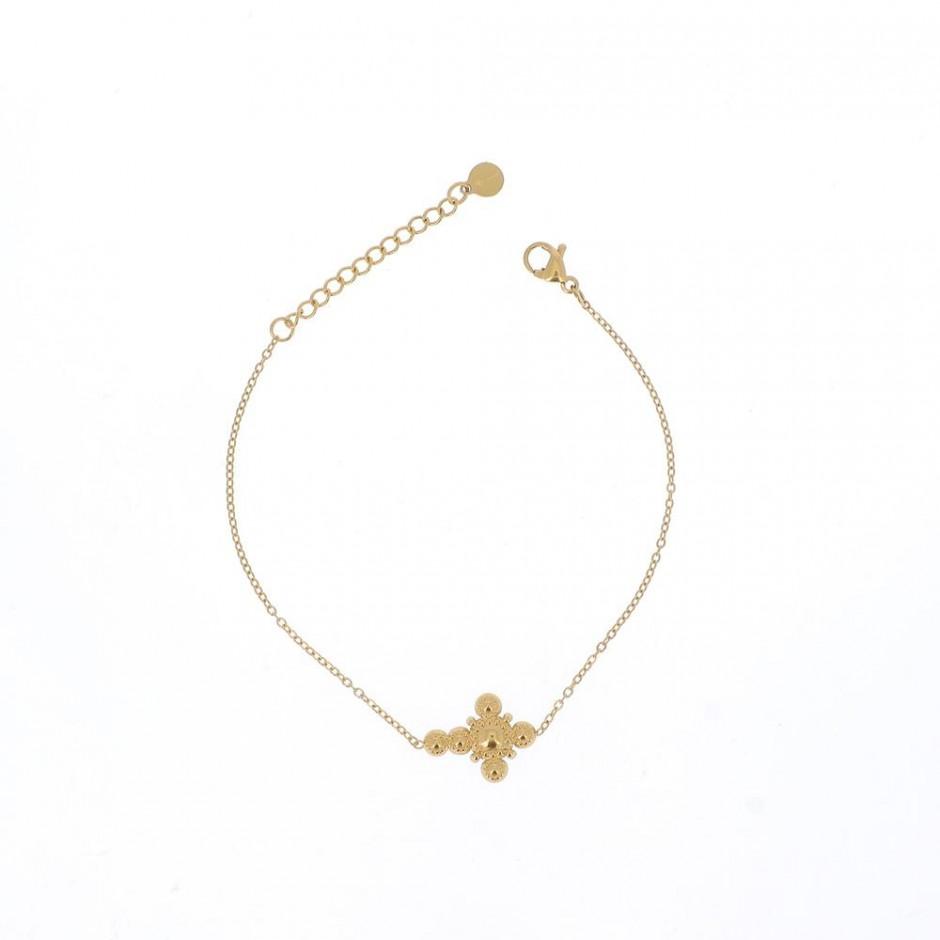 Bracelet acier motif croix