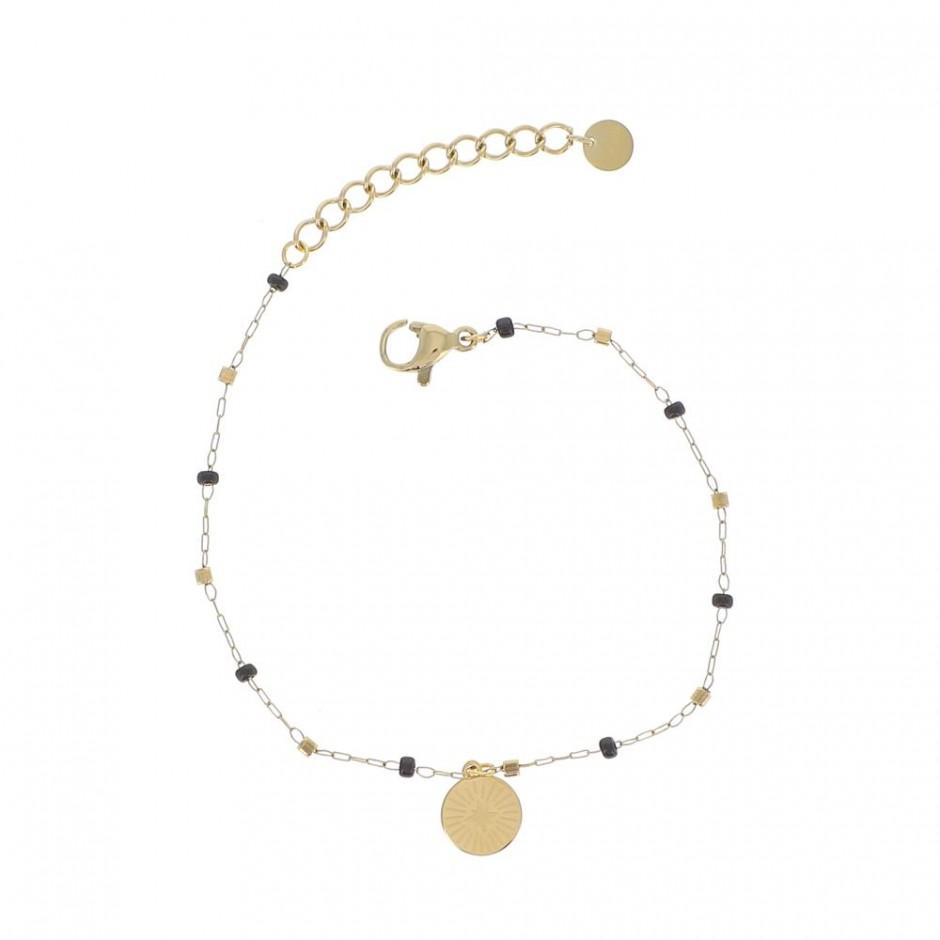 Bracelet acier chaine rocaille et medaille soleil