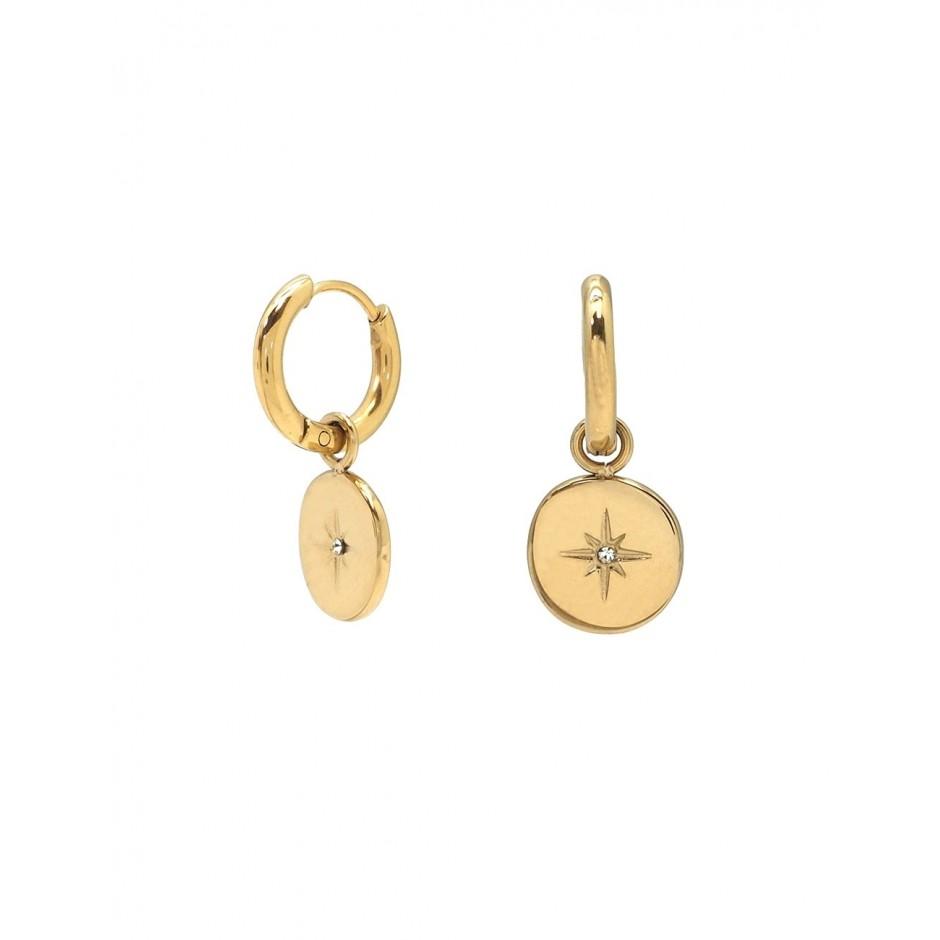 Mini créole acier medaille étoile et strass