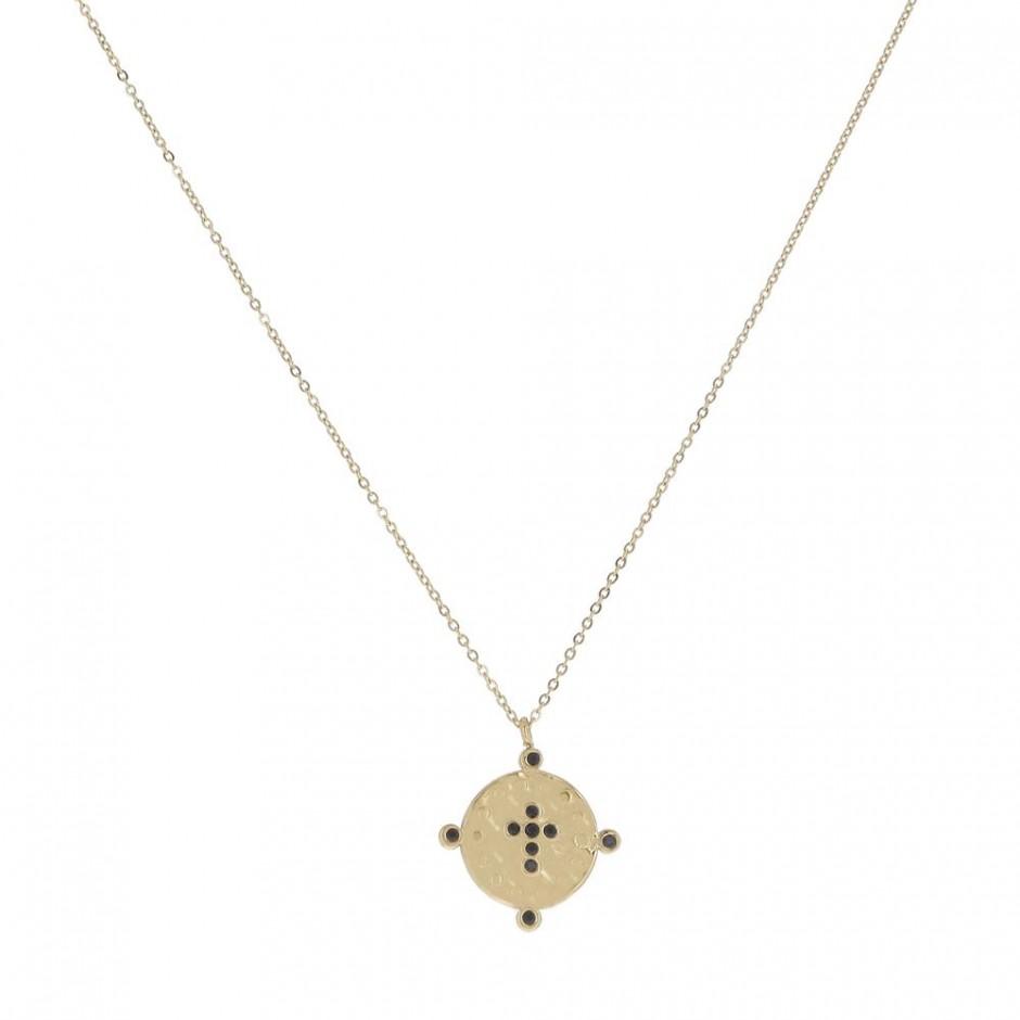 Collier acier médaille croix et strass
