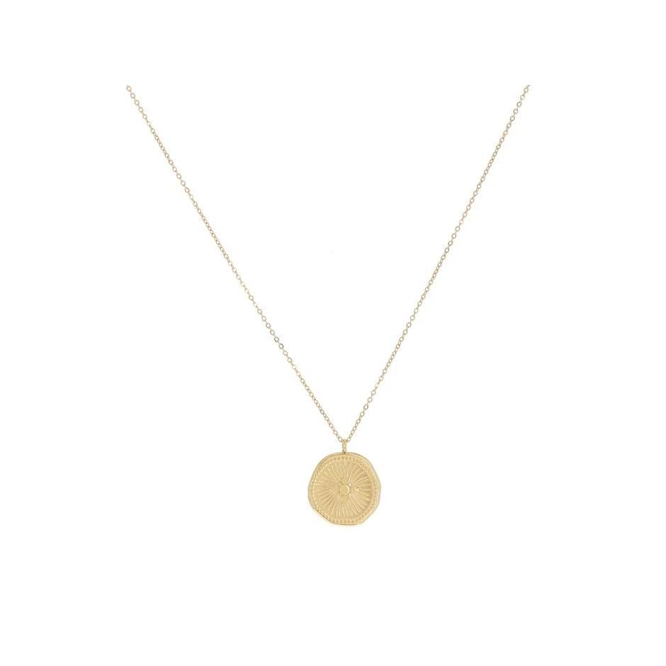 Collier acier médaille croix motif soleil