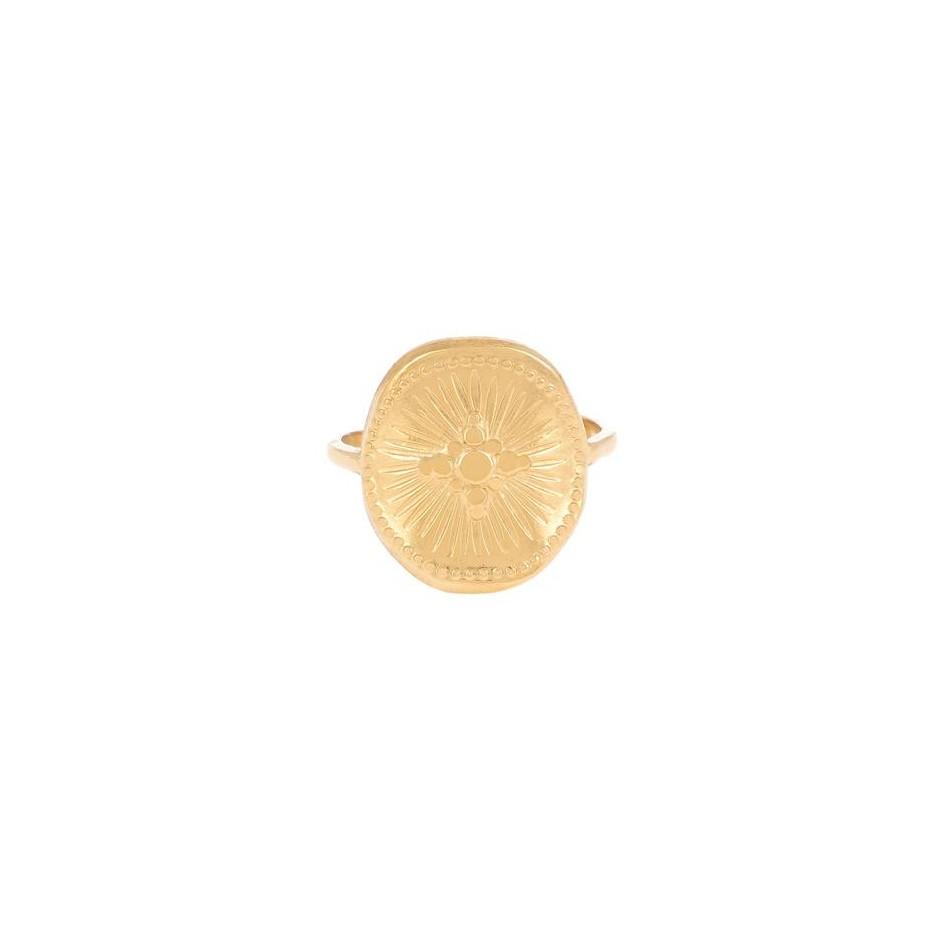 Bague acier double rang médaille motif croix