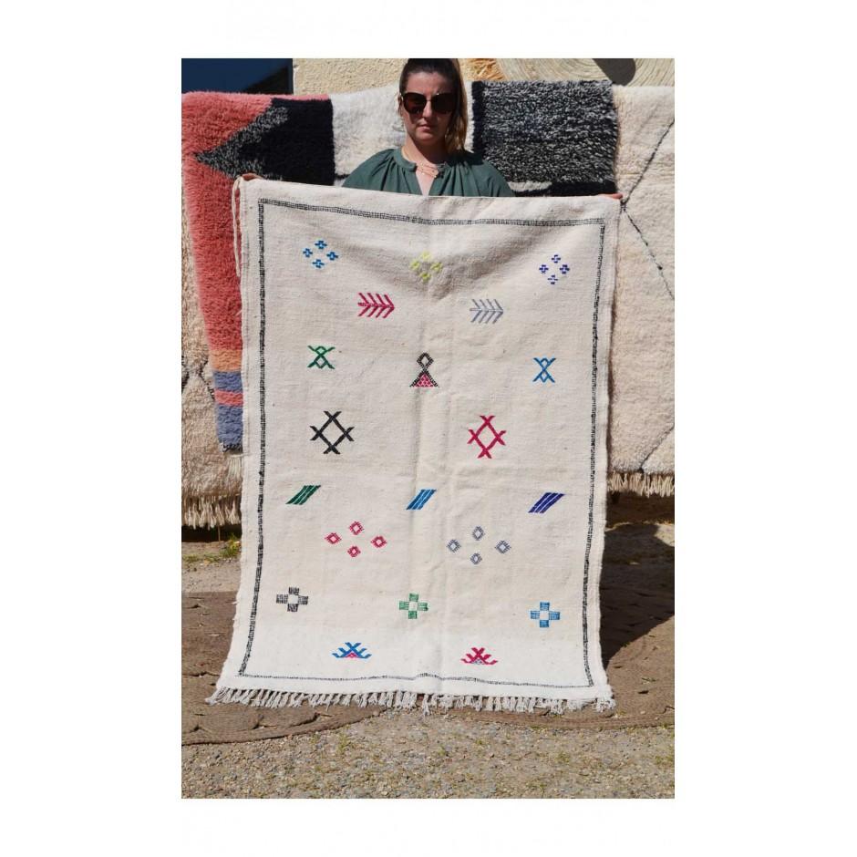 Tapis kilim écru motifs berbères N°144