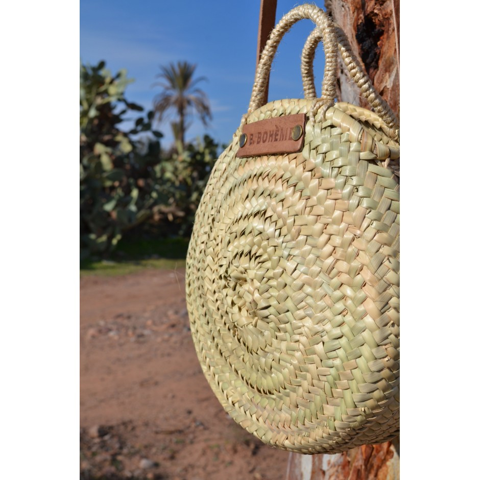 Petit panier rond marocain anse bandoulière en cuir