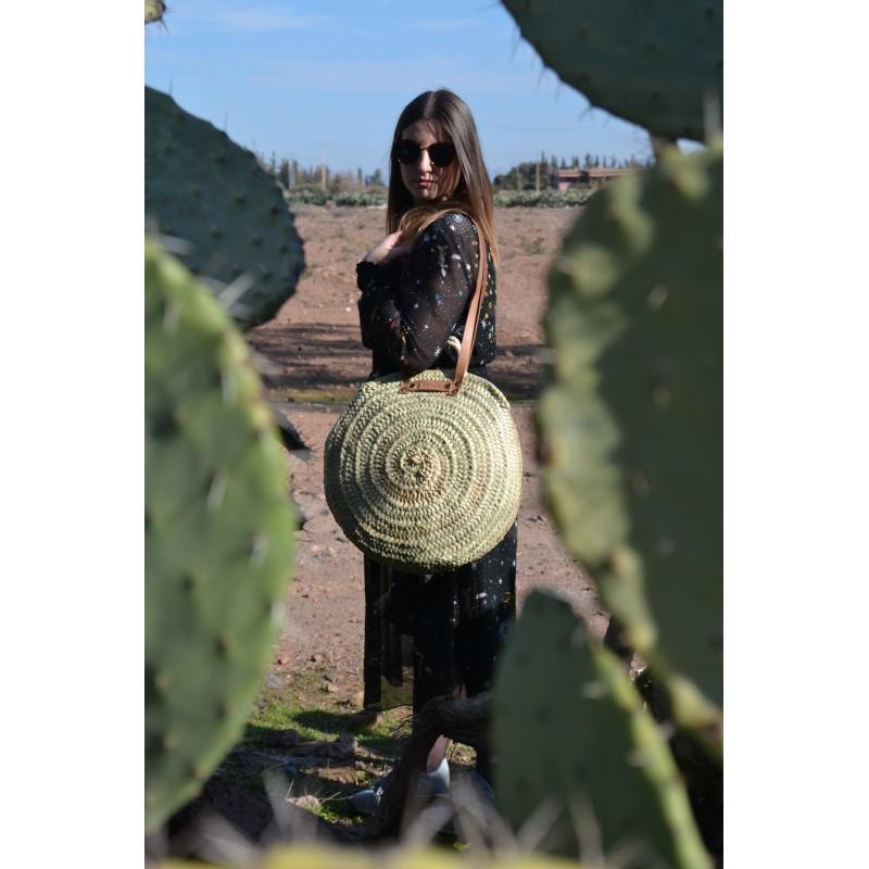 51b041ad698e96 Grand panier rond marocain tréssé à la main anses plates en cuir