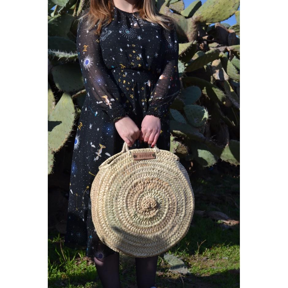 Grand panier rond marocain anses plates en cuir