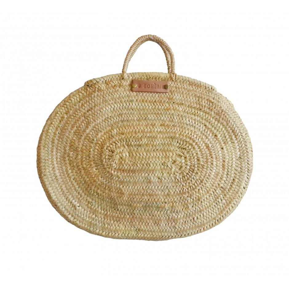 Grand panier ovale marocain tresse à la main anse corde