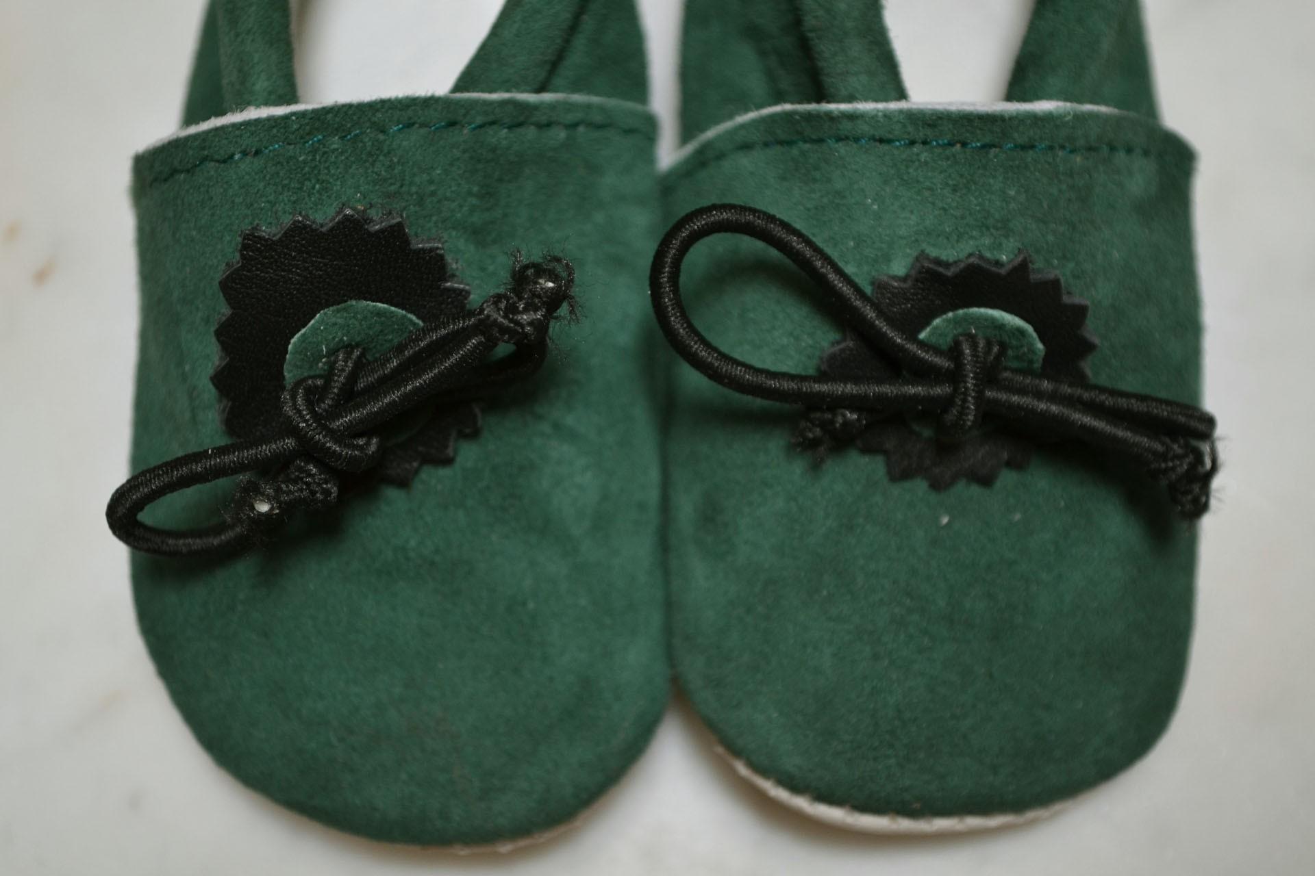 Chausson bébé en cuir vert foncé e6b711797907